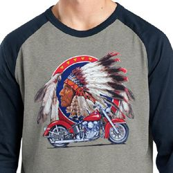 Mens Biker Shirt Big Chief Indian Motorcycle Raglan Tee T-Shirt