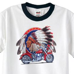 Mens Biker Shirt Big Chief Indian Motorcycle Ringer Tee T-Shirt