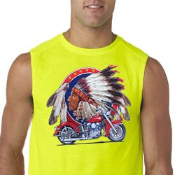 Mens Biker Shirt Big Chief Indian Motorcycle Sleeveless Tee T-Shirt