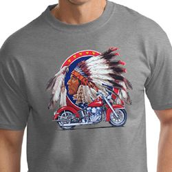 Mens Biker Shirt Big Chief Indian Motorcycle Tall Tee T-Shirt