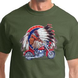Mens Biker Shirt Big Chief Indian Motorcycle Tee T-Shirt