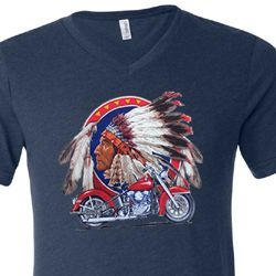 Mens Biker Shirt Big Chief Indian Motorcycle Tri Blend V-neck Tee