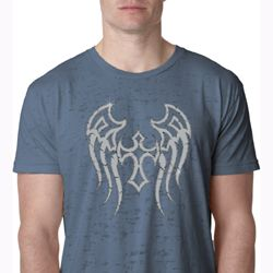 Mens Biker Shirt Cross Wings Burnout Tee T-Shirt