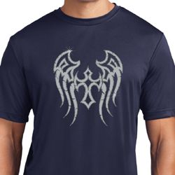 Mens Biker Shirt Cross Wings Moisture Wicking Tee