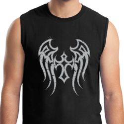 Mens Biker Shirt Cross Wings Muscle Tee T-Shirt