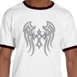 Mens Biker Shirt Cross Wings Ringer Tee T-Shirt