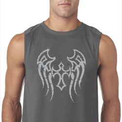 Mens Biker Shirt Cross Wings Sleeveless Tee T-Shirt