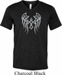 Mens Biker Shirt Cross Wings Tri Blend V-neck Tee