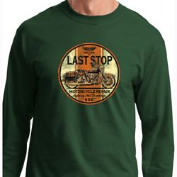 Mens Biker Shirt Last Stop Long Sleeve Tee