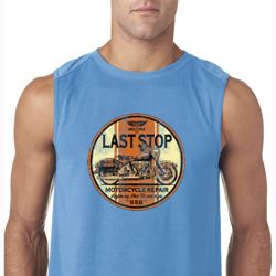 Mens Biker Shirt Last Stop Sleeveless Tee T-Shirt