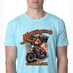 Mens Biker Shirt Motorhead Garage Burnout Tee T-Shirt