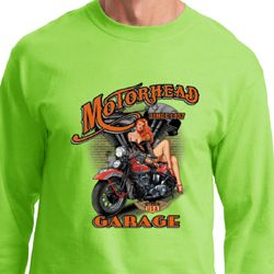 Mens Biker Shirt Motorhead Garage Long Sleeve Tee