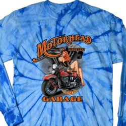 Mens Biker Shirt Motorhead Garage Long Sleeve Tie Dye Tee T-shirt