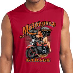 Mens Biker Shirt Motorhead Garage Sleeveless Moisture Wicking Tee T-Shirt