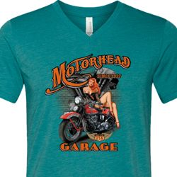 Mens Biker Shirt Motorhead Garage Tri Blend V-neck Tee