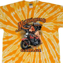 Mens Biker Shirt Motorhead Garage Twist Tie Dye Tee T-shirt