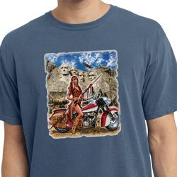 Mens Biker Shirt Sturgis Indian Pigment Dyed Tee T-Shirt