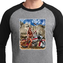 Mens Biker Shirt Sturgis Indian Raglan Tee T-Shirt
