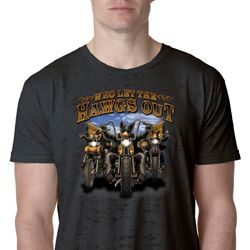 Mens Biker Shirt Who Let The Hawgs Out Burnout Tee T-Shirt