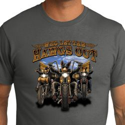 Mens Biker Shirt Who Let The Hawgs Out Organic Tee T-Shirt