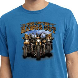 Mens Biker Shirt Who Let The Hawgs Out Pigment Dyed Tee T-Shirt