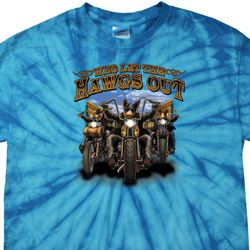 Mens Biker Shirt Who Let The Hawgs Out Spider Tie Dye Tee T-shirt