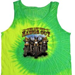 Mens Biker Shirt Who Let The Hawgs Out Tank Tie Dye Tee T-shirt