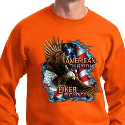 Mens Biker Sweatshirt American By Birth Sweat Shirt