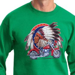 Mens Biker Sweatshirt Big Chief Indian Motorcycle Sweat Shirt