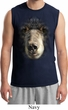 Mens Black Bear Shirt Big Black Bear Face Muscle Tee T-Shirt