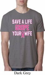 Mens Breast Cancer Awareness Shirt Grope Your Wife Burnout Tee T-Shirt