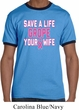 Mens Breast Cancer Awareness Shirt Grope Your Wife Ringer Tee T-Shirt