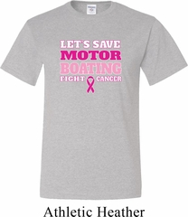 Mens Breast Cancer Awareness Shirt Motor Boating Tall Tee T-Shirt