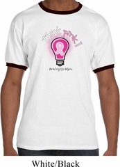 Mens Breast Cancer Awareness Shirt Think Pink Ringer Tee T-Shirt