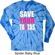 Mens Breast Cancer Shirt Save Your Tatas Long Sleeve Tie Dye Tee
