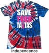 Mens Breast Cancer Shirt Save Your Tatas Patriotic Tie Dye Tee T-shirt