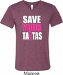 Mens Breast Cancer Shirt Save Your Tatas Tri Blend V-neck Tee T-Shirt