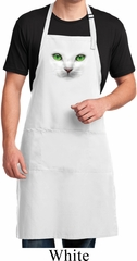 Mens Cat Apron Green Eyes Cat White Full Length Apron with Pockets