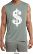 Mens Distressed Dollar Sign Sleeveless Moisture Wicking Tee T-Shirt