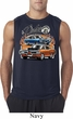 Mens Dodge Blue and Orange Super Bee Sleeveless Shirt