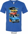 Mens Dodge Shirt Challenger Trio Tri Blend V-neck Tee T-Shirt