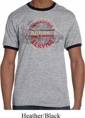 Mens Dodge Shirt Vintage Dodge Sign Grey/Black Ringer Tee T-Shirt