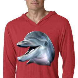 Mens Dolphin Shirt Big Dolphin Face Lightweight Hoodie Tee T-Shirt