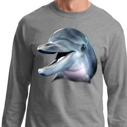 Mens Dolphin Shirt Big Dolphin Face Long Sleeve Tee T-Shirt