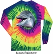 Mens Dolphin Shirt Big Dolphin Face Long Sleeve Tie Dye Tee T-shirt