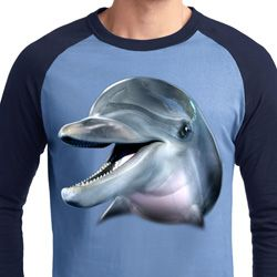 Mens Dolphin Shirt Big Dolphin Face Raglan Tee T-Shirt