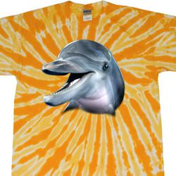 Mens Dolphin Shirt Big Dolphin Face Twist Tie Dye Tee T-shirt