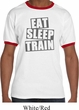 Mens Fitness Shirt Eat Sleep Train Ringer Tee T-Shirt
