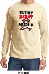 Mens Fitness Shirt Every Beast Needs A Beauty Long Sleeve Tee T-Shirt