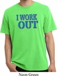 Mens Fitness Shirt I Work Out Pigment Dyed Tee T-Shirt